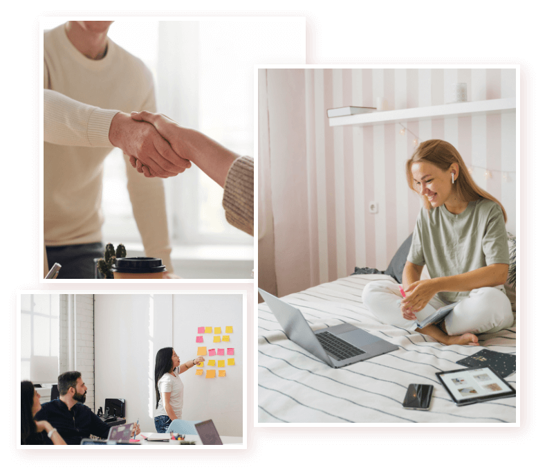 Marketing services, showing happy clients and shaking hands