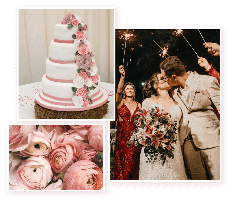 Wedding cake, couple kissing and pink flowers hatton wedding